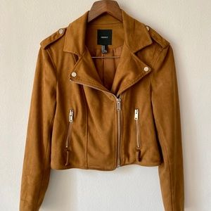 Forever 21 Faux Suede Moto Style Jacket Sz Medium